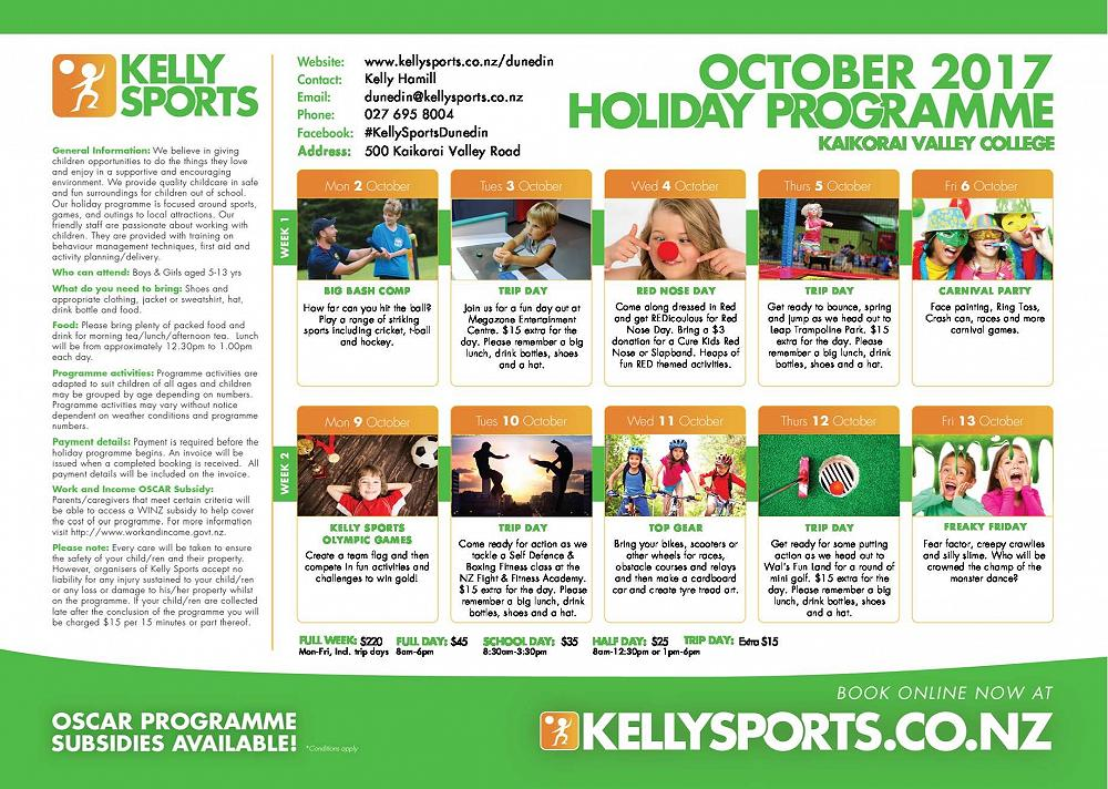 kelly sports holiday programme columba college newsletter