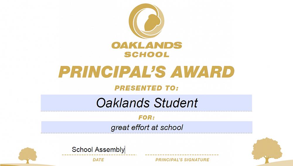 principal s awards for effort newsletter no 34 4th november 2015