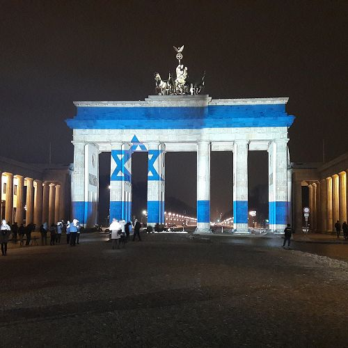 Brandenburg Gate with the Flag of Israel