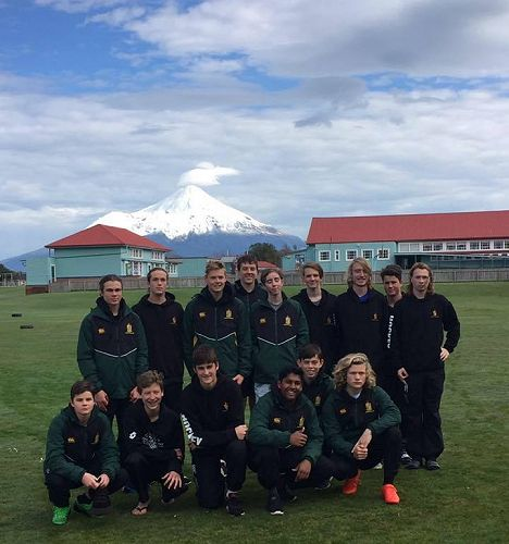 1st XI boys with Mt Taranaki in the background