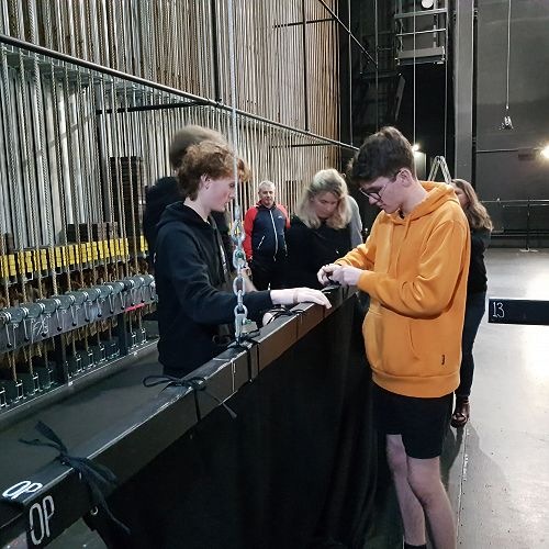 Nic and Matthew (front left to right) being assessed at the workshop held at the Theatre Royal.