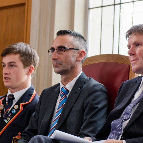 From left to right, Lochie Chittock (Head Prefect), Mr Iain McGilchrist (Deputy Principal), and Mr Garry (Principal)