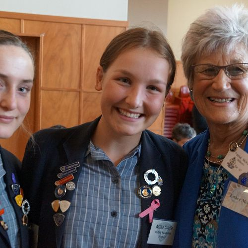 Prefects Annie Sansom and Mika Cottle with ex-girl Esther Mckay.