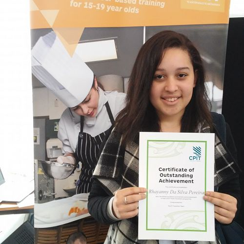 Rhayanny Da Silva Pereira received a Certificate of Outstanding Achievement in Hairdressing at the Canterbury Tertiary College Prizegiving for Secondary Tertiary Partnership students