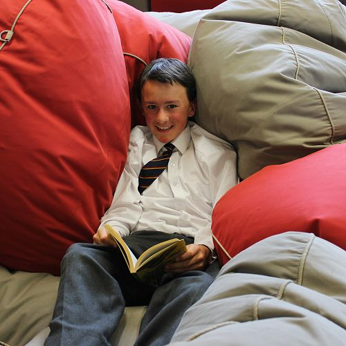 Getting cosy in the bean bags