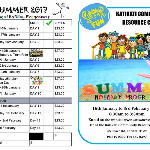 Summer 2017 Holiday Programme