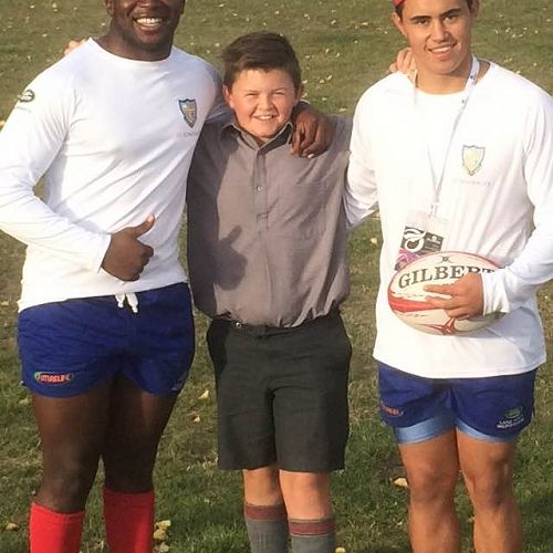 Some of our year 7 students really enjoy taking billets to help out visiting  sports teams. 'Beast' on the left, Tom Fowler 7Aho, Aaron on the rightSaint Joseph High School rugby tour to NZ 2016.