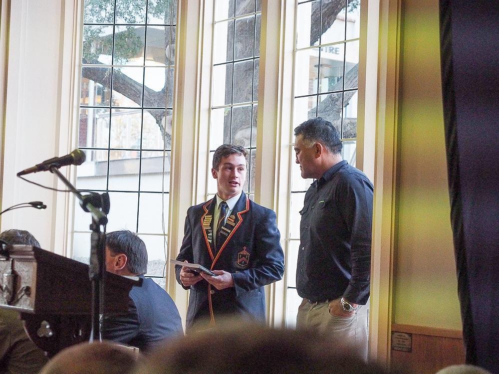 Head boy, Lochie Chittock thanks Jamie Joseph