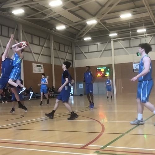 Sonny Haldene going up for a layup against Buller HS in the WCSS Senior Boys Basketball Tournament 04/08/20