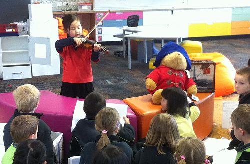 Christina played a farewell tune for Paddington -