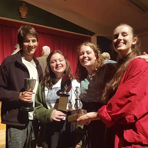 Ben, Sophie W, Sophie H and Olivia are well-pleased with their winning scene's success.