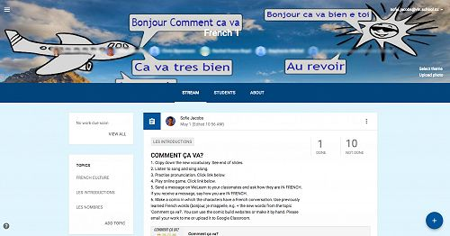 The French Google Classroom Home Page