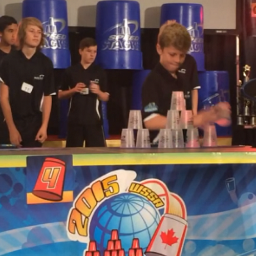 William McLauchlan competing at the World Sport Stacking Championships, Montreal