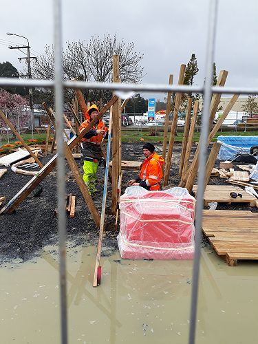 Playco installers get a bit of Spring Dunedin rain