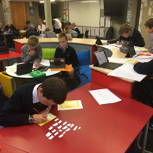 Taking part in Get NZ Writing - Year 7s constructing their poems to send to our buddy school in Cambridge