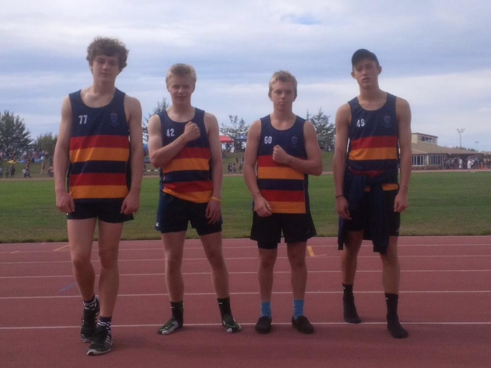 JMC winning relay team (U15),  South Island Secondary School Athletic Championships