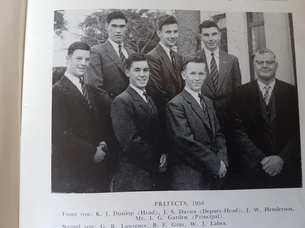 1958 Prefects. George Lawrence back row left
