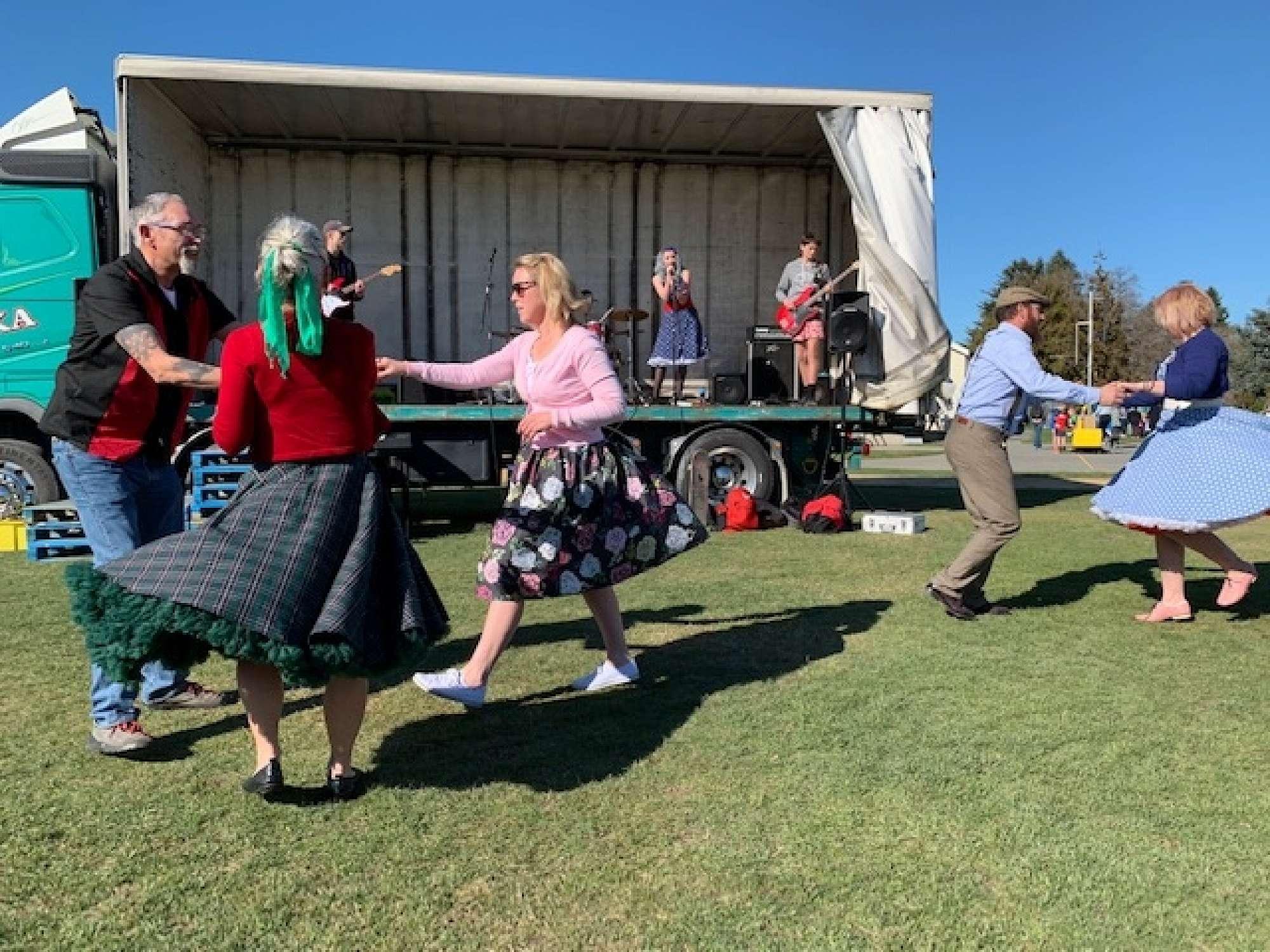 Revellers at the Temuka Spring Fair