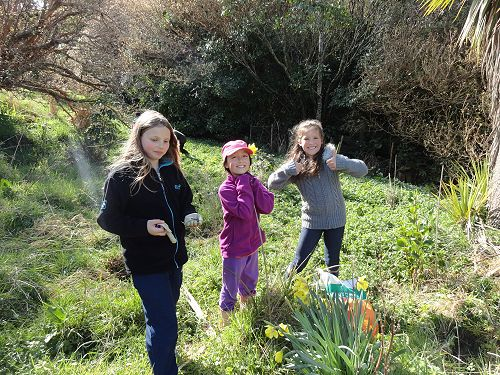 A planting event a year ago at Moore's Bush with the KCC (Kiwi Conservation Club, the children's group of Forest and Bird).
