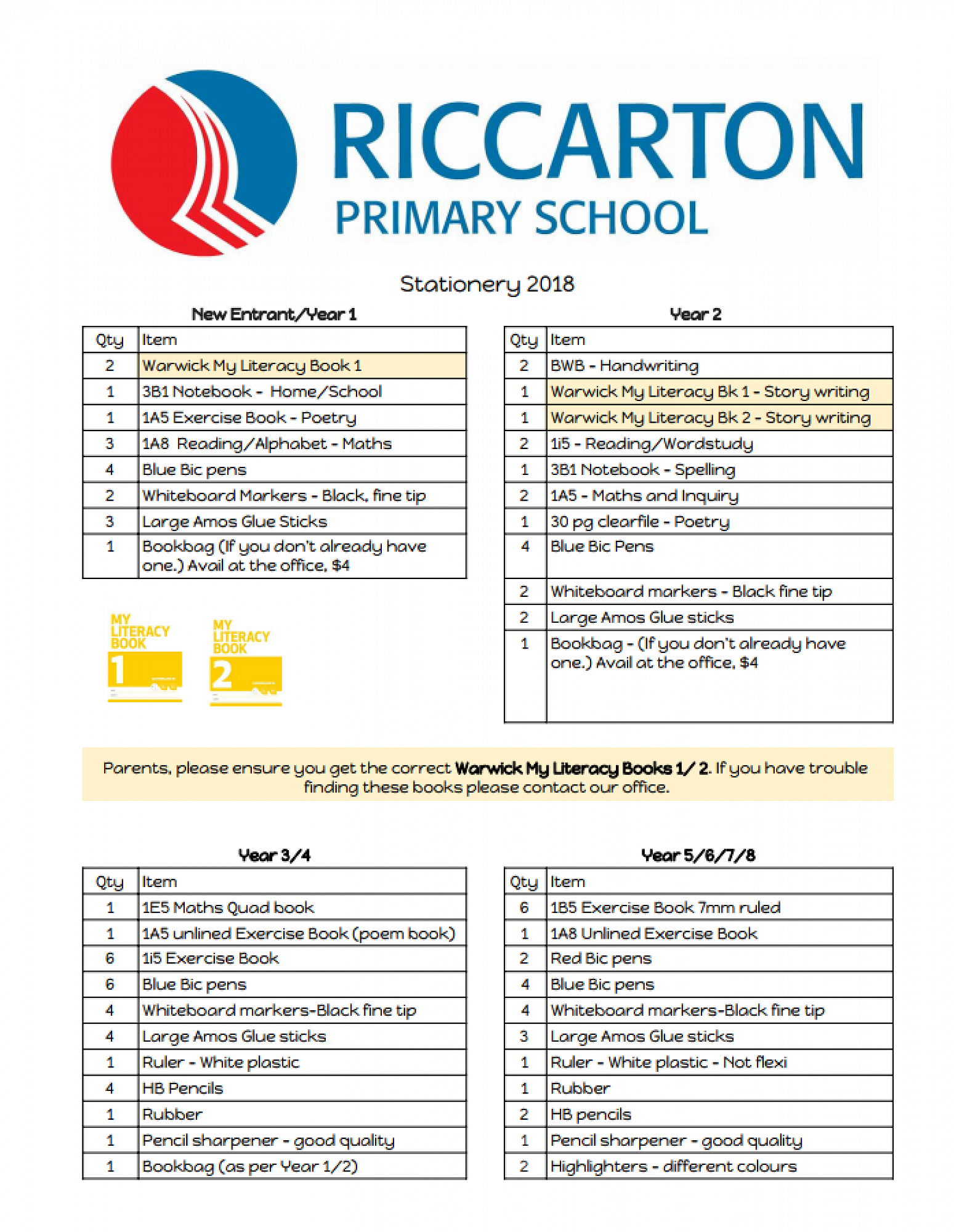 stationery list 2018 homepage