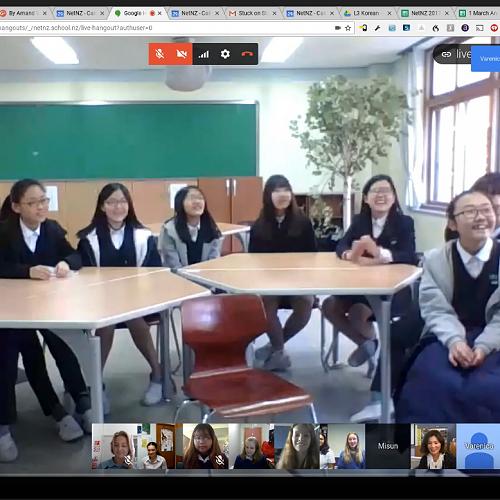 Korean and Kiwi kids meeting online