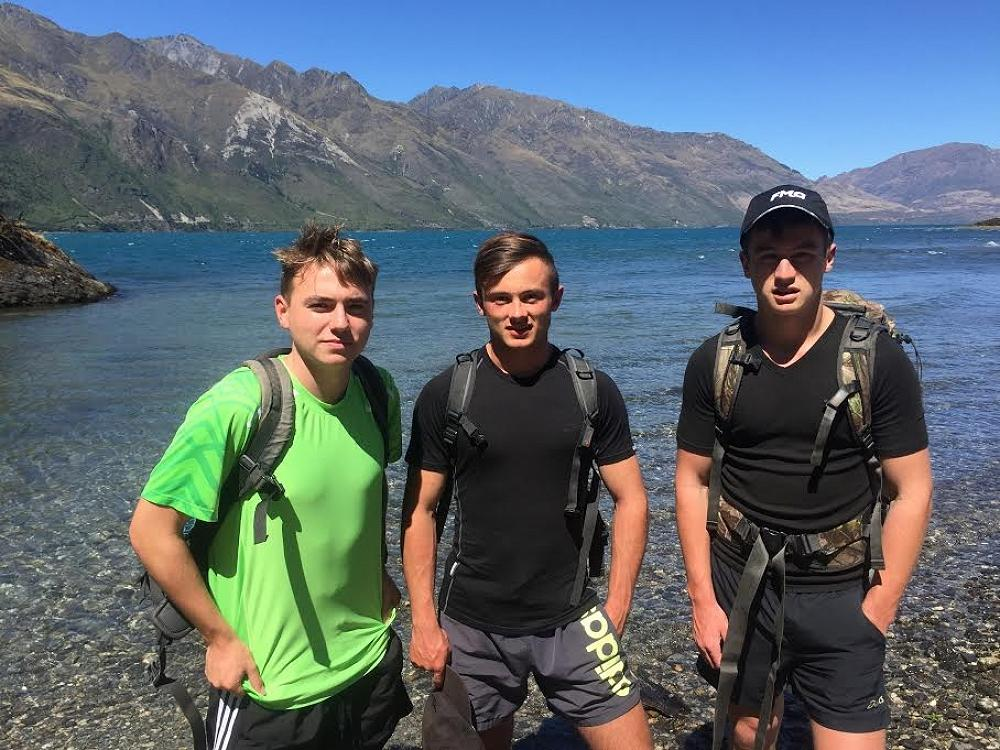 On the shore of Lake Wanaka at the mouth of the AlbertBurn where we began the challenge.