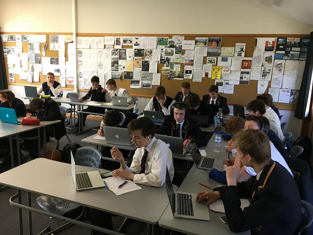 Year 11 geography completing their study of the Dunedin Flood June 2015.