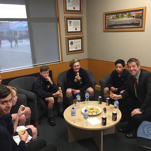 Merit Morning Tea -from left; Jesse Bainbridge, Liam Bone, Beau Campbell, Jona Cooper, George Bates and Ocean Allemann.