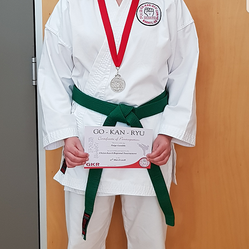 Paige Gamble wins a silver medal in the GKR Christchurch Regional Tournament.