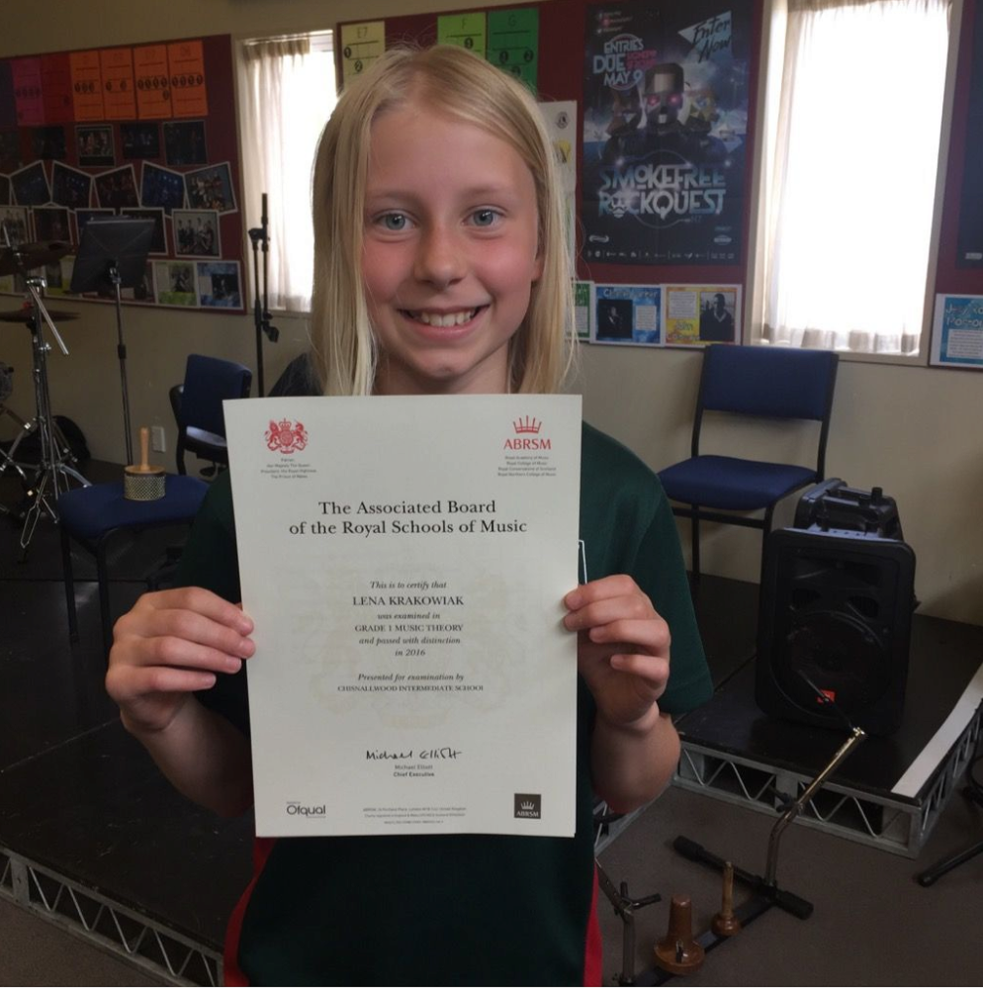 Lena Krakowiak with her theory certificate
