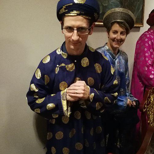 Glen Clark, dressed for our royal banquet dinner