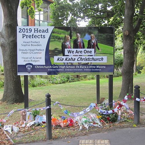 Front of School Tributes