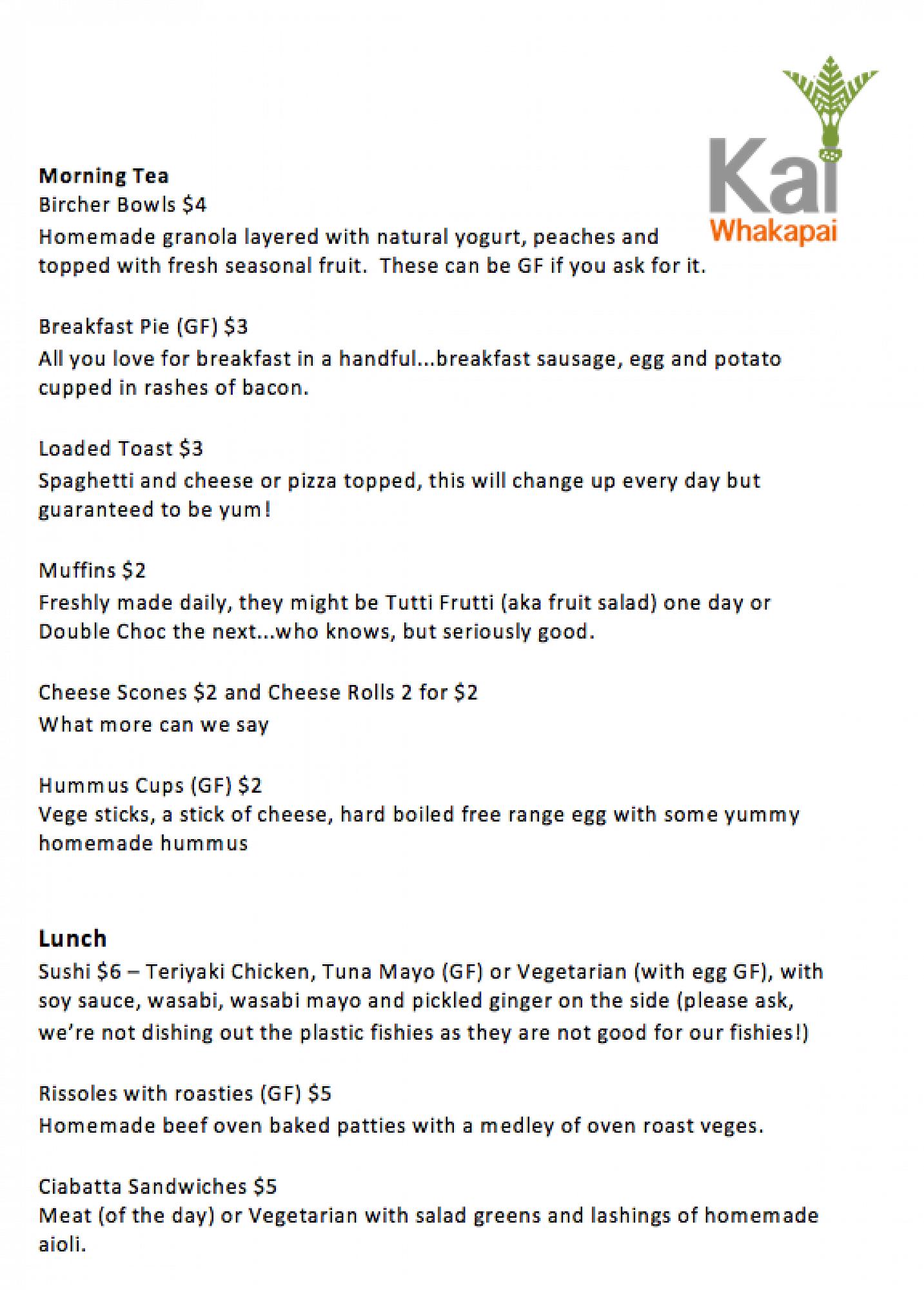 Kai Whakapai menu