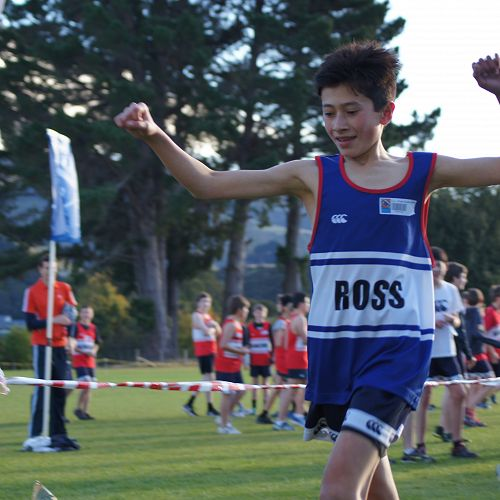 Josh Hou wins the Primary section of the cross country