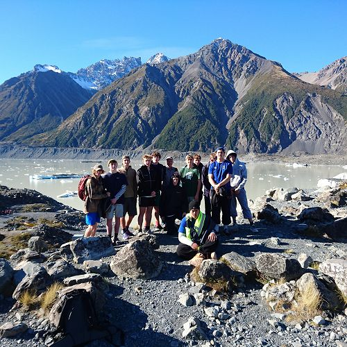 All the boys togethar. Not a bad looking day for Glacial calving on Lake Tasman