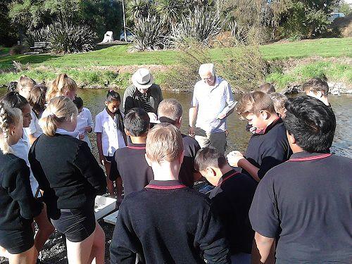 8Cm studying Waihi River