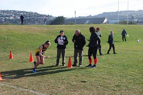 Lila Rhodes bursting off the line