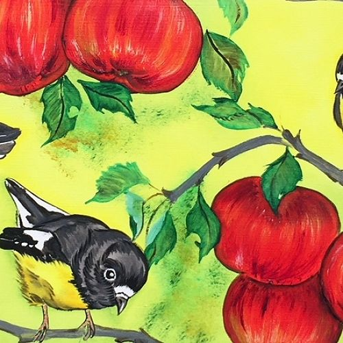Tomtits and Apples (with Fantail) by Kaori Jackson