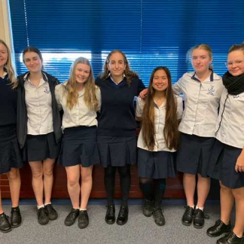 From left to right, Jordan Gaby, Bella Cook, Casey Rendell, Jess Cotterill, Jayzel Borlaza, Abigail Foreman, Katie Hills. Absent: Marysa Pope