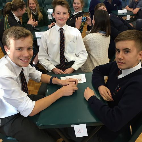 Ben Monaghan, Tu Bull and Benedict Kyle waiting patiently for the start of the Year 9 & 10 ODT Social Studies Quiz