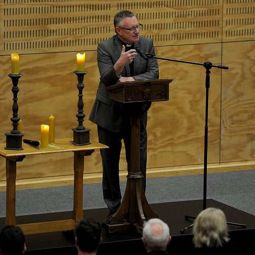 Rev Barry welcomes folk to College Sunday in what he dubbed the Davies cathedral.