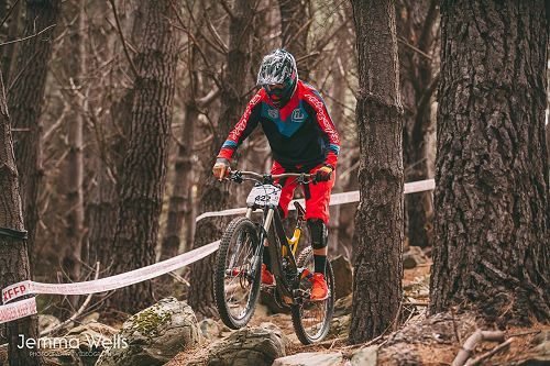 Oban Hansen competing in the Otago Mountain Biking
