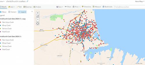 Christchurch crash map