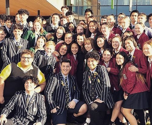 Jacinda Ardern with excited students