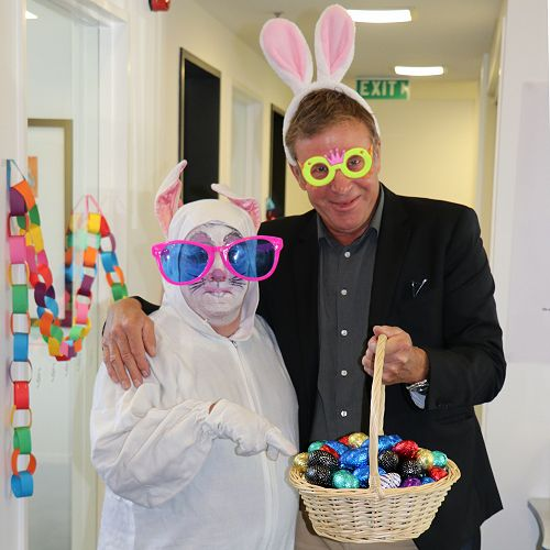 Principal Mike Fowler with the Easter Bunny
