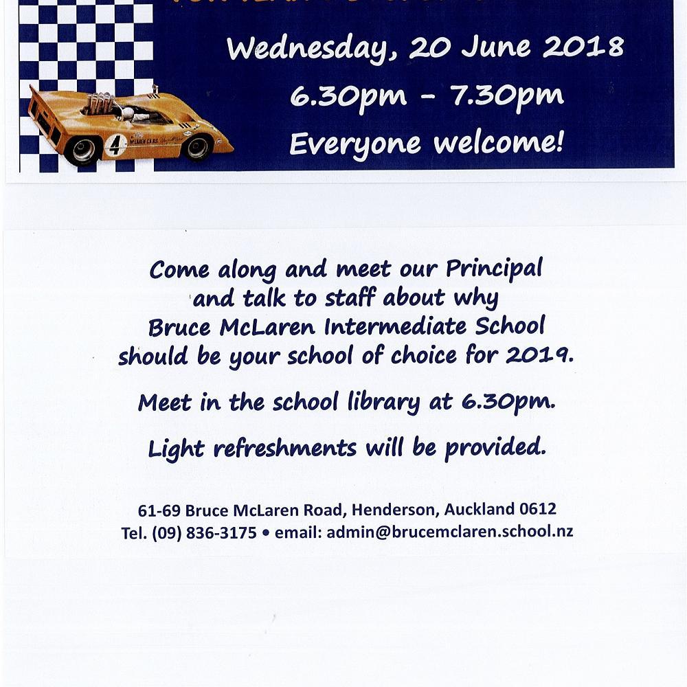 bruce mclaren intermediate info evening — konini newsletter - 31 may