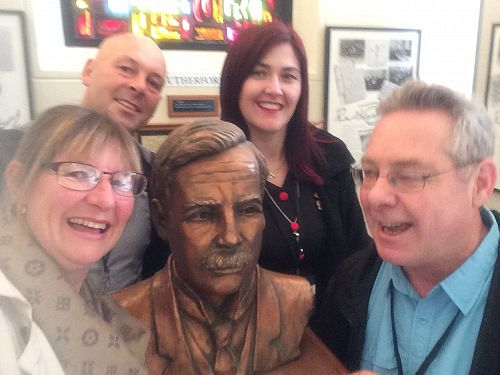 Biology Teacher Selfie with the Rutherford Bust