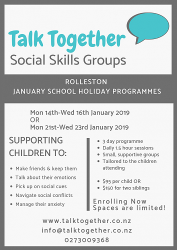 Talk Together - January Holiday Programmes