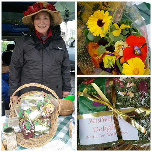 Alice from Otago Organics with her colourful salad bags of edible flowers, herbs and chick weed and below right nettle tea with rose petals that the local midwives suggest their pregnant mums drink.