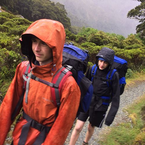 Mark Randall and a fellow tramper on the Routeburn Track.